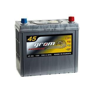 Akumulator GROM Premium 45Ah 390A Japan Prawy plus