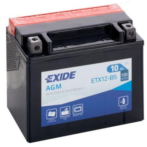 Akumulator motocyklowy EXIDE ETX12-BS/ YTX12-BS  12V 10Ah 150A EN L+