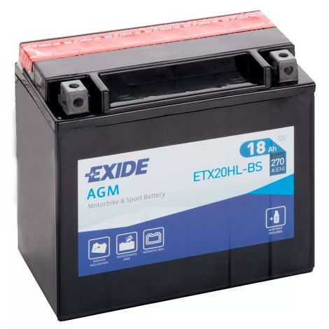 Akumulator motocyklowy EXIDE ETX20HL-BS/ YTX20HL-B 12V 18Ah 270A EN P+